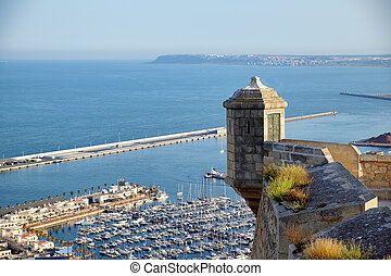Sentry box in santa barbara castle with the sea. Alicante Spain.