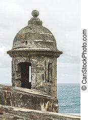 Sentry box overlooking the Atlantic Ocean at 'El Morro' (Castillo San Felipe del Morro) San Juan, Puerto Rico