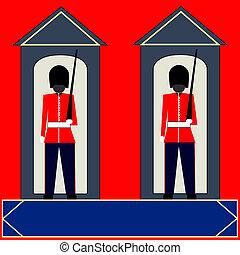 Sentry Boxes - Illustration of Guardsmen standing sentry in...