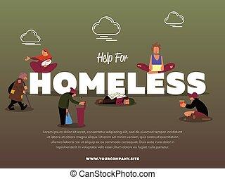 senzatetto, bandiera, aiuto, mendicante, affamato