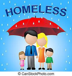 senzatetto, famiglia, mostra, sfortuna, prole, e, povero