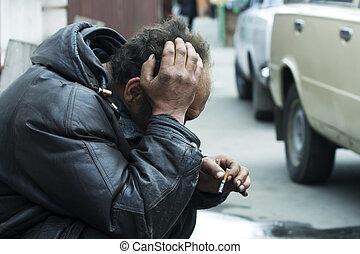 senzatetto, uomo