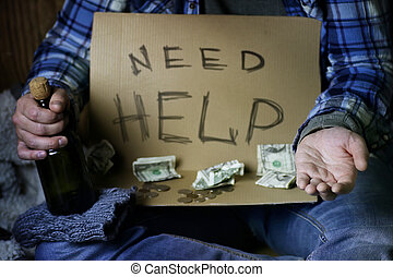 senzatetto, uomo, chiedere, aiuto