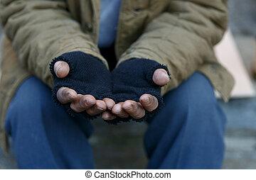 senzatetto, uomo, chiedere, per, help.