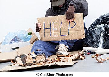 senzatetto, uomo, chiedere, per, uno, aiuto