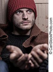 senzatetto, uomo, elemosinare, per, aiuto