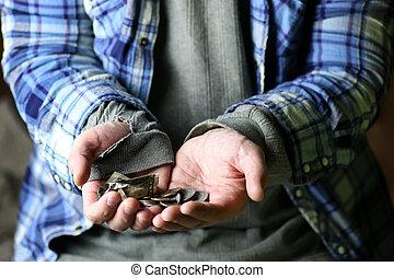 senzatetto, uomo, mano, aiuto
