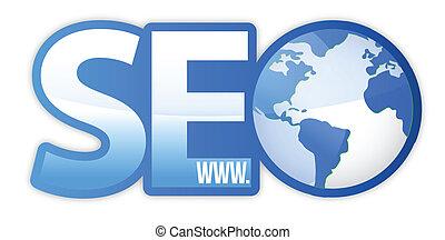 seo, ícone, com, azul, globo mundial, www