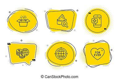 seo, インターネット, 今までに, set., moisturizing, クリーム, お金, パッキング, 電話の箱, アイコン, 世界, signs., 医学, ベクトル