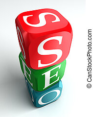seo 3d buzzword - seo 3d colorful buzzword on white...