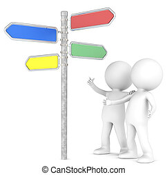 3D little human character x 2 looking at a Directional Signs in 4 colors. People series.