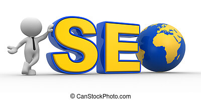 """3d people - man , person with a word """"SEO"""" and a earth globe"""