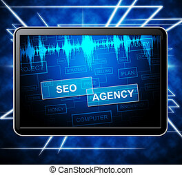 Seo Agency Shows Search Engine 3d Illustration