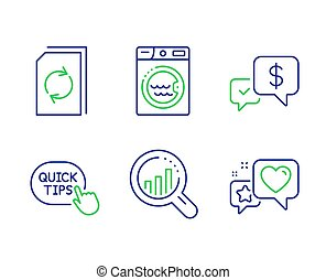 Seo analysis, Payment received and Update document icons set. Laundry, Quick tips and Heart signs. Vector