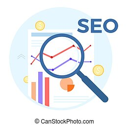 SEO analysis vector flat illustration. Concept of accounting, analysis, audit, financial report. Auditing tax process. EPS 10