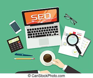 SEO analytics concept on workdesk vector, search engine optimization research