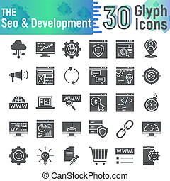 SEO and development glyph icon set, optimization symbols collection, vector sketches, logo illustrations, technology signs solid pictograms package isolated on white background.