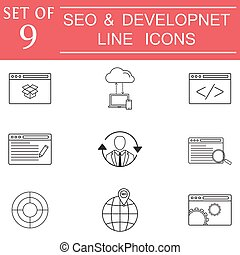 SEO and Development icon set, business signs
