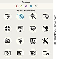 seo and development icon set - seo and development web icons...