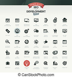 SEO and development icon set - Set of business retro icons ...