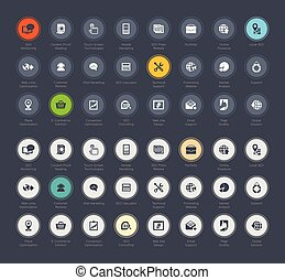 SEO and development icon set vector collection