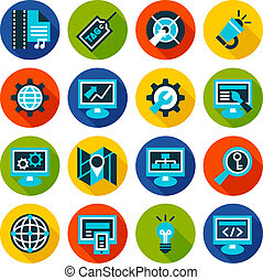 SEO and internet optimization flat icon set.