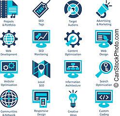 SEO and internet optimization icon set.