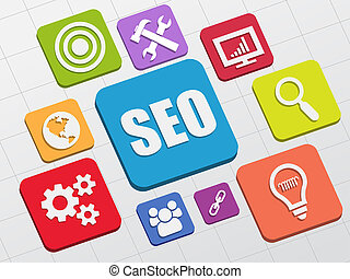 SEO and internet signs in flat blocks - SEO and internet ...