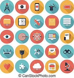 SEO and web icons set - Flat design modern vector ...