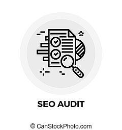 SEO Audit Line Icon - SEO Audit icon vector. Flat icon...