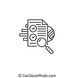 SEO Audit Related Vector Thin Line Icon. Isolated on White Background. Editable Stroke. Vector Illustration.