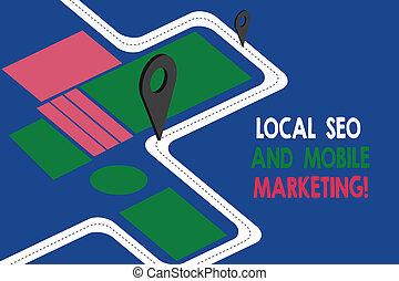 seo, búsqueda, texto, señal, móvil, actuación, 3d, ruta, motor, navegación, digital, foto, mapa, optimization, dirección, advisory., local, marcador, marketing., camino, alfiler, conceptual, locator, promoción
