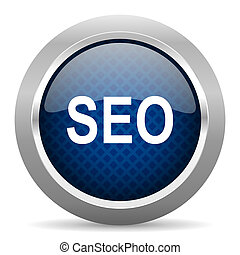 seo blue circle glossy web icon on white background, round button for internet and mobile app