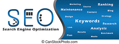 Seo Blue with Keywords Banner - Banner image of Search...