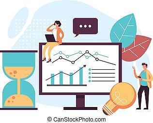 SEO business analytics concept. Vector graphic design flat cartoon illustration