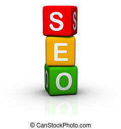 SEO (buzzword colorful cubes series)