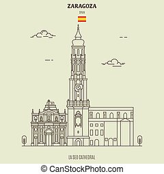 seo, cathédrale, spain., la, zaragoza, repère, icône