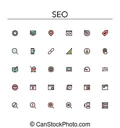 SEO Colored Line Icons - SEO and development colored line...