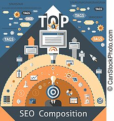 Seo Composition Illustration - Seo composition with website ...