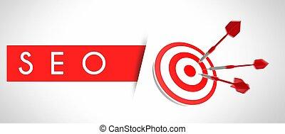 seo, concept, business, cible, et, reussite