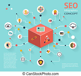 seo, concept, icône, infographic