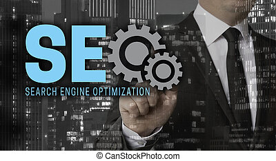 Seo concept is shown by businessman