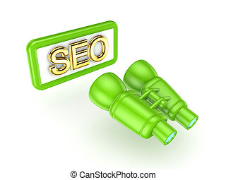 SEO concept. Isolated on white background.3d rendered ...