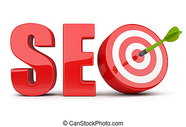 SEO concept - SEO inscription dart hitting the target. 3d...