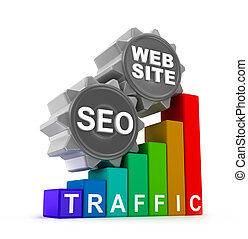 SEO concept with colorful graph