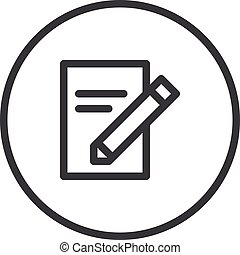 SEO Copywriting, Document and pencil, modern vector icon
