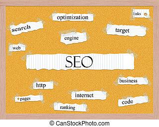 SEO Corkboard Word Concept
