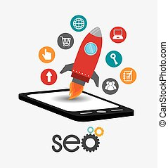 SEO design. - SEO design over white background, vector...