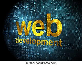 seo, diseño telaraña, concept:, cinche desarrollo, en, fondo digital