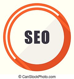 Seo flat design vector web icon. Round orange internet button isolated on white background.